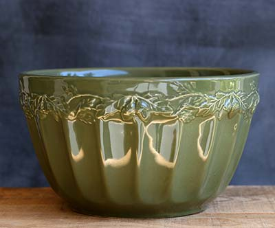 Olive Green Acorn Mixing Bowl (medium)