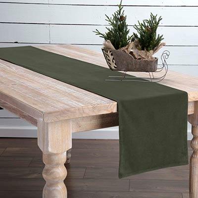 Green Velvet 90 inch Table Runner