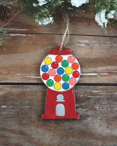 Gumball Machine Personalized Ornament - Red