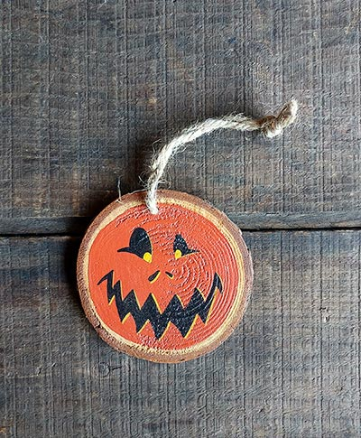 Jack O'Lantern Hand-painted Wood Slice Ornament (Personalized)