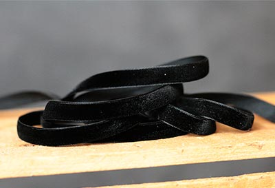 Jet Black Velvet Ribbon, 3/8 inch