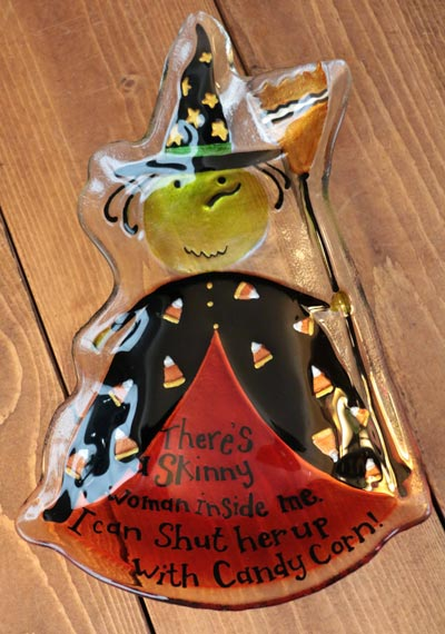Spooky Halloween Witch Glass Plate