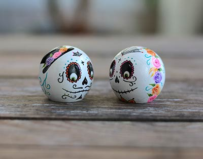 Day of the Dead Bride & Groom Peg Doll Set