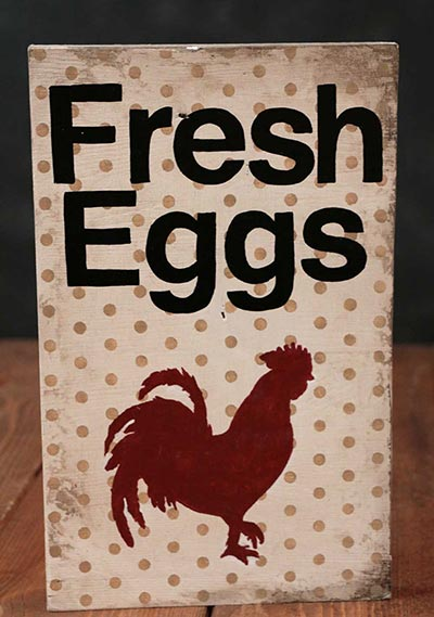 Fresh Eggs Wooden Sign with Rooster