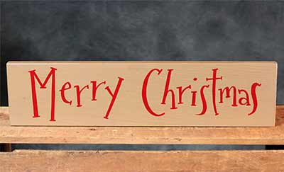 Merry Christmas Hand-Lettered Wooden Sign