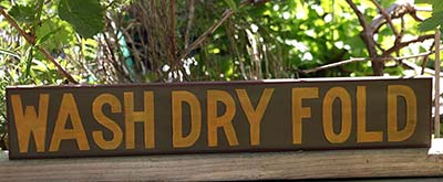 Wash, Dry, Fold Hand-Lettered Sign - Vintage Colors