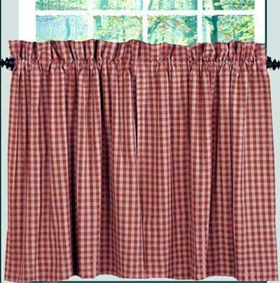 Heritage House Check Cafe Curtains - 24 inch Tiers