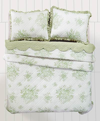 Josephine Sage Green Quilt (Multiple Size Options)