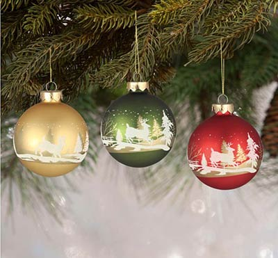 Traditional Silhouette Scene Ornaments (Set of 3)