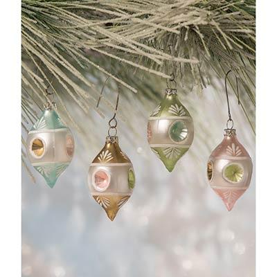 Pastel Teardrop Indent Ornaments (Set of 4)