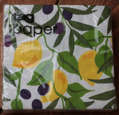 Lemons and Olives Paper Cocktail Napkins