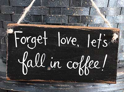 Let's Fall In Coffee Wooden Sign