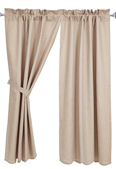 Charlotte Solid Natural Curtain Panels (63 inch)