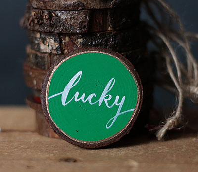 Lucky Wood Slice Ornament - Green, White, and Gold (Personalized)