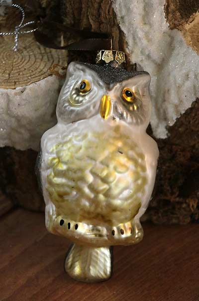 White Glass Owl Ornament