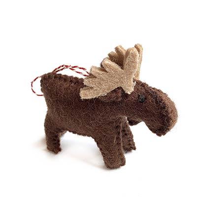Brown Moose Wool Ornament