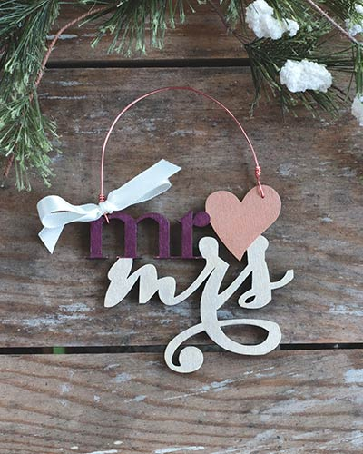 Mr & Mrs with Heart Personalized Ornament