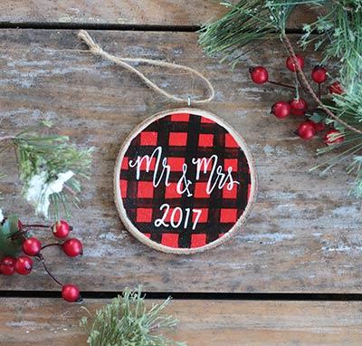 Mr. & Mrs. Christmas Buffalo Check Ornament (Personalized)
