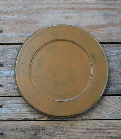 Distressed 9.5 inch Candle Plate - Mustard