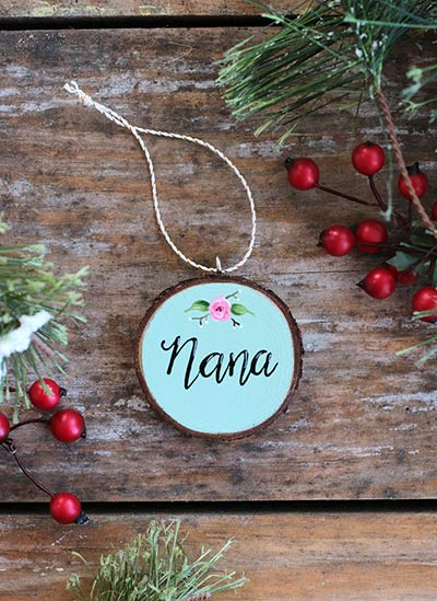 Nana with Rose Wood Slice Ornament (Personalized)