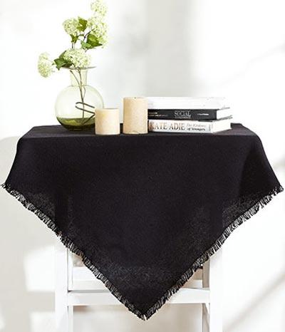 Burlap Black Tablecloth - 60 x 102