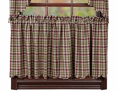 Jackson Plaid Cafe Curtains - 24 inch Tiers