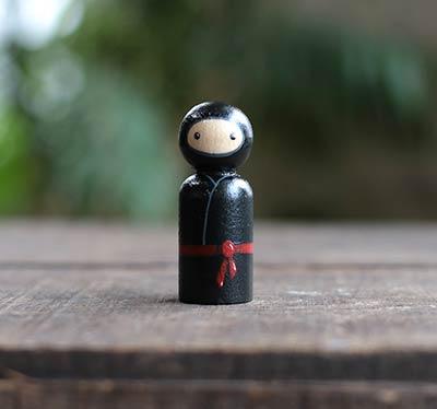 Black Ninja Peg Doll (or Ornament)