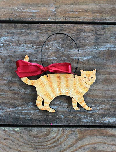 Cat Personalized Ornament - Orange
