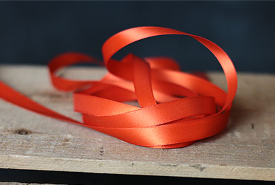 Mandarin Orange Double Faced Poly Satin Ribbon, 1/2 inch