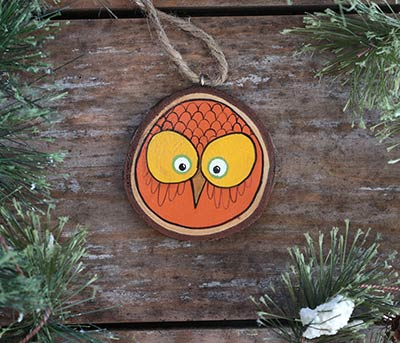 Autumn Owl Wood Slice Ornament (Personalized)