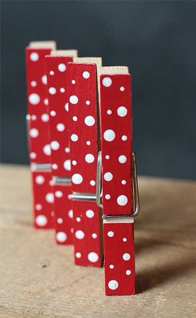 Red and White Polka Dot Clothespins (Set of 4)
