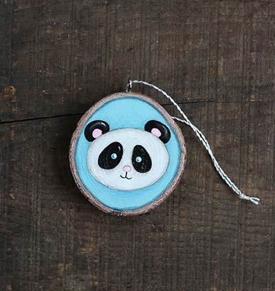 Panda Wood Slice Ornament (Personalized)