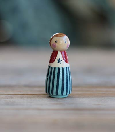Patriotic Peg Doll Girl (or Ornament)