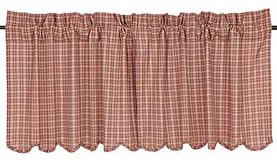 Independence Plaid Cafe Curtains - 24 inch Tiers