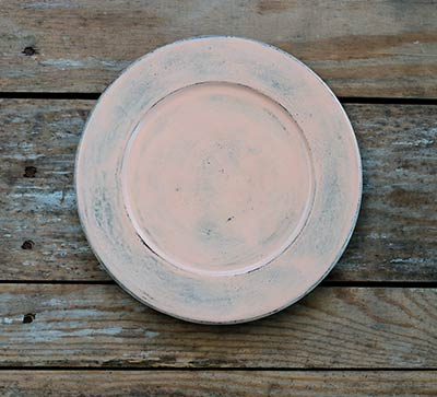 Distressed 8.5 inch Candle Plate - Peach