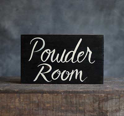 Powder Room Wooden Sign