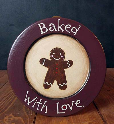 Burgundy Baked With Love Gingerbread Decorative Plate