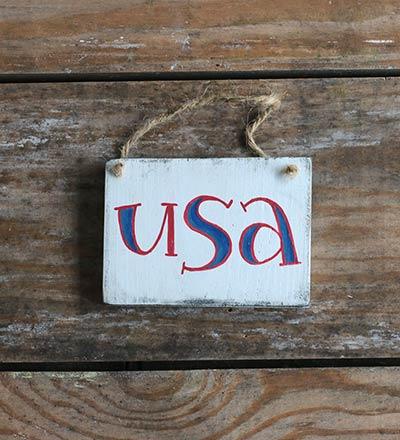 USA Sign Ornament - White