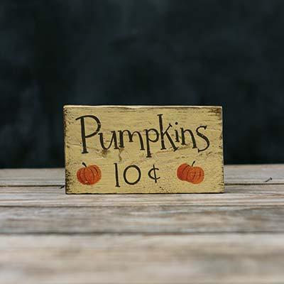 Pumpkins 10 Cents Sign
