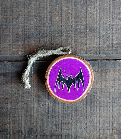 Bat Wood Slice Ornament (Personalized)