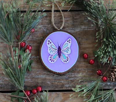 Purple Butterfly Wood Slice Ornament (Personalized)