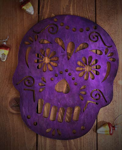 Sugar Skull Wall Decor - Purple