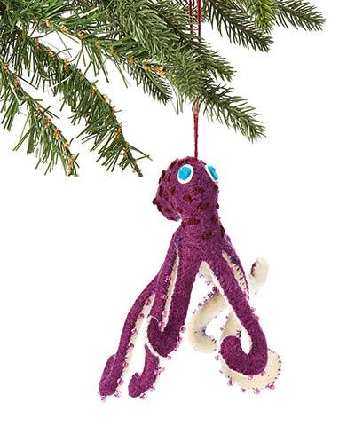 Purple Octopus Wool Ornament