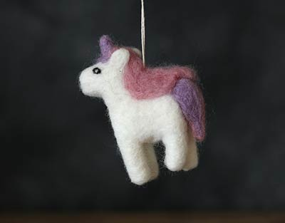 Felt Unicorn Ornament - Purple/Pink