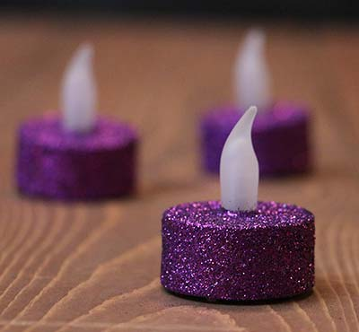 Purple Glitter LED Tealight Candle