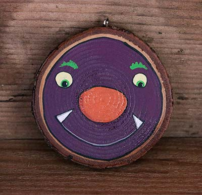 Purple Monster Wood Slice Ornament (Personalized)