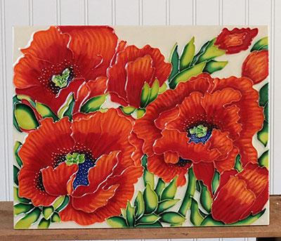 Red Poppies Art Tile