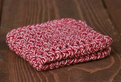 Sock Monkey Red Crochet Dish Cloth