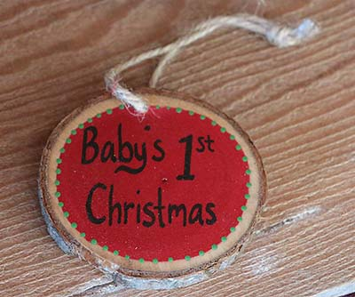Baby's First Christmas Wood Slice Ornament - Red (Personalized)