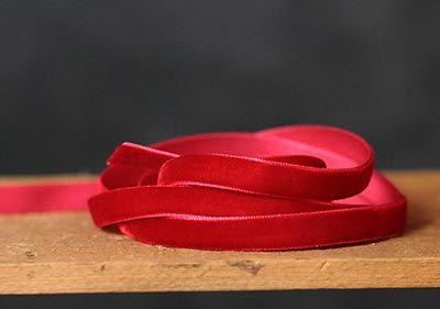Red Velvet Ribbon, 3/8 inch